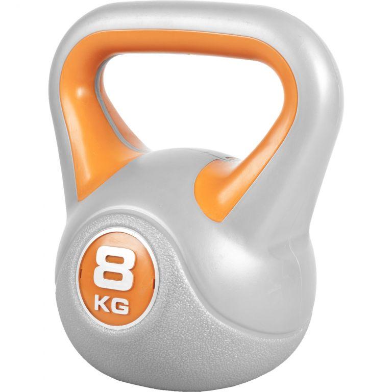 Gorilla Sports kettlebell činka, 8 kg, oranžový
