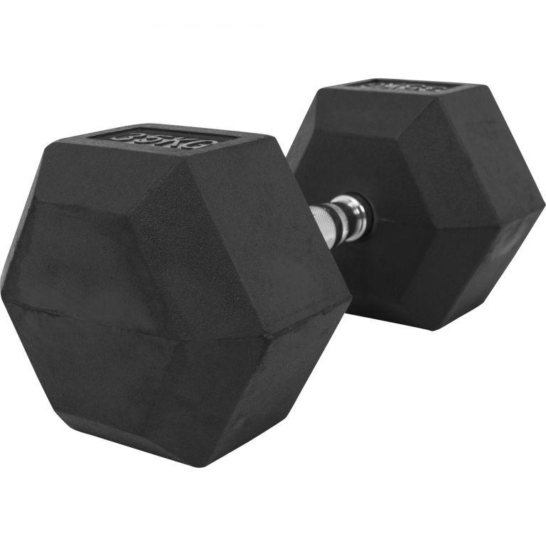 Gorilla Sports šestihranná pogumovaná činka, 35 kg