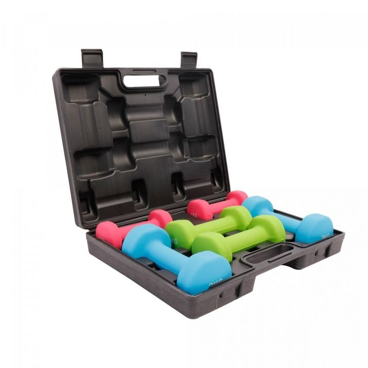 Gorilla Sports Set činek na aerobic v kufříku, 12 kg